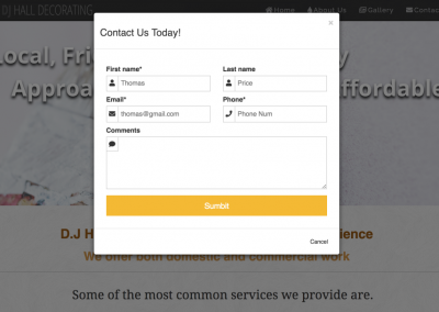 Pop Up contact form